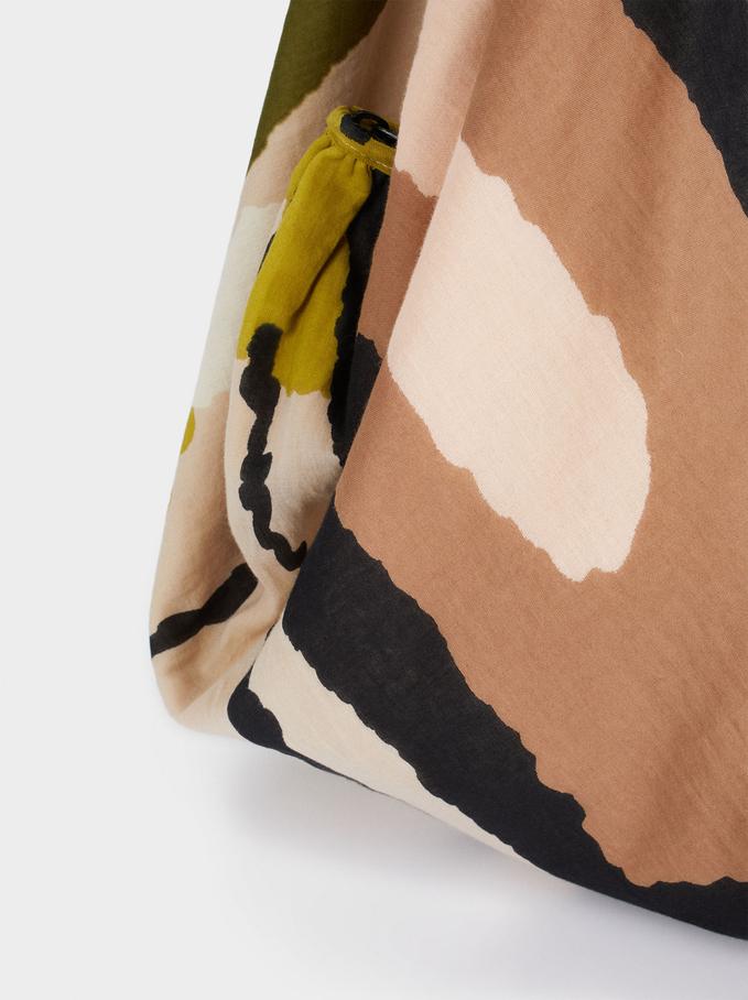 Printed Tote Bag, Beige, hi-res