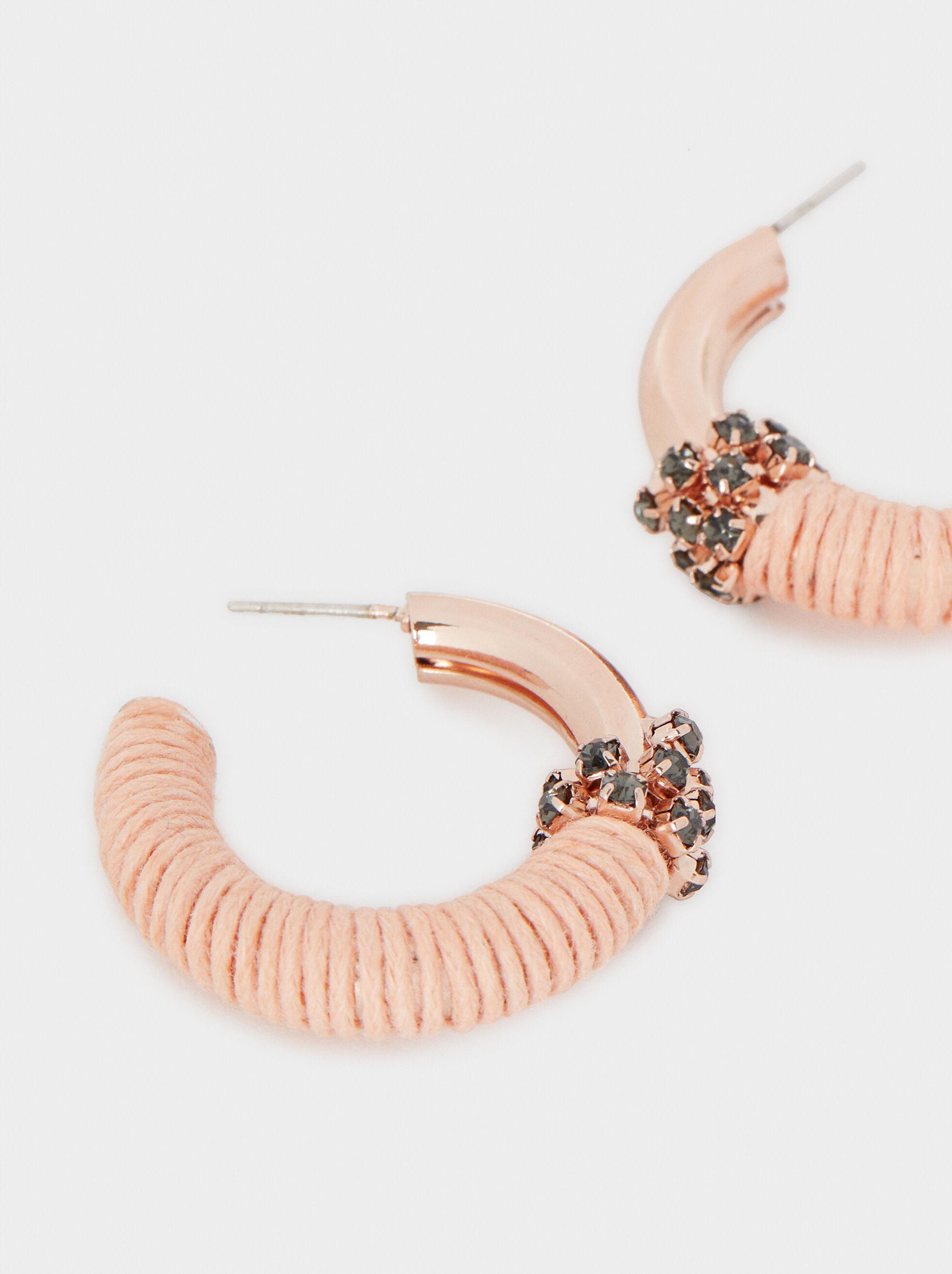 Rose Gold Small Hoop Earrings With Crystal Detail, Orange, hi-res