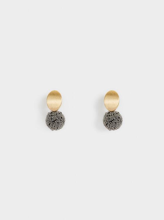 Short Earrings With Rhinestones, , hi-res