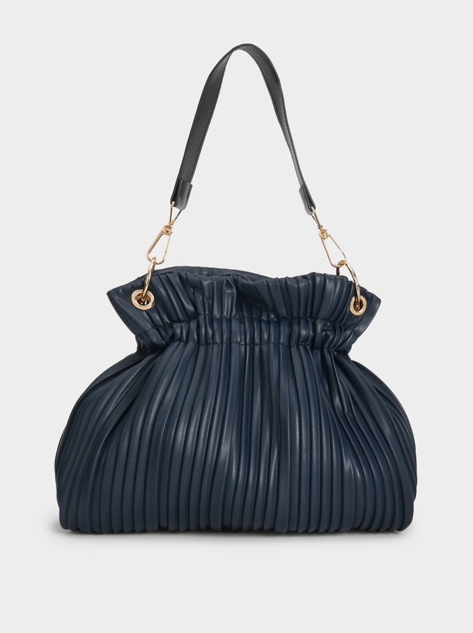Pleated Bucket Bag, Navy, hi-res