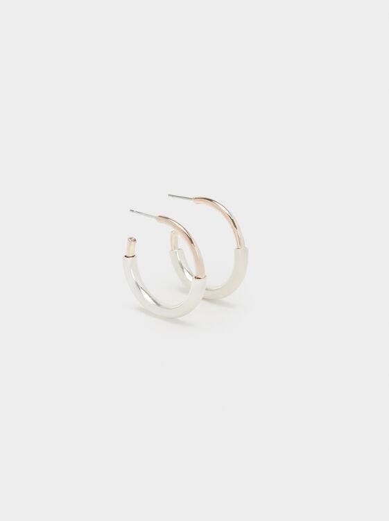 Two-Tone Hoop Earrings, Multicolor, hi-res