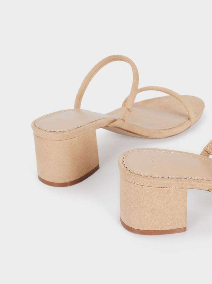 Heeled Sandals With Straps, Beige, hi-res