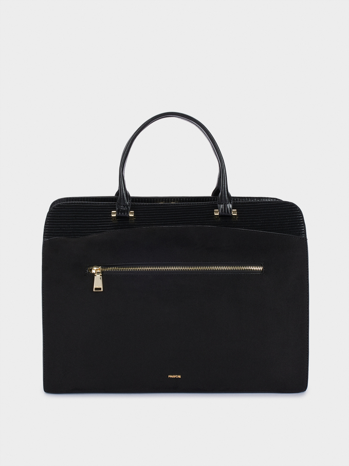 "Briefcase For 13"" Laptop, Black, hi-res"