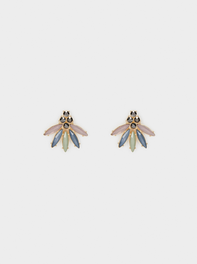 Watercolor Shiny Stud Earrings, Multicolor, hi-res