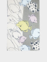 Fish Print Scarf, Khaki, hi-res