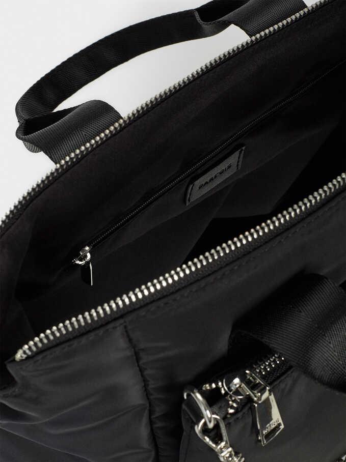 Nylon Tote Bag With Chain Detail, Black, hi-res