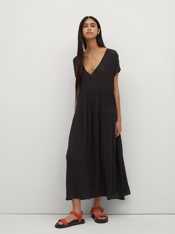 Long V-Neck Dress, Grey, hi-res