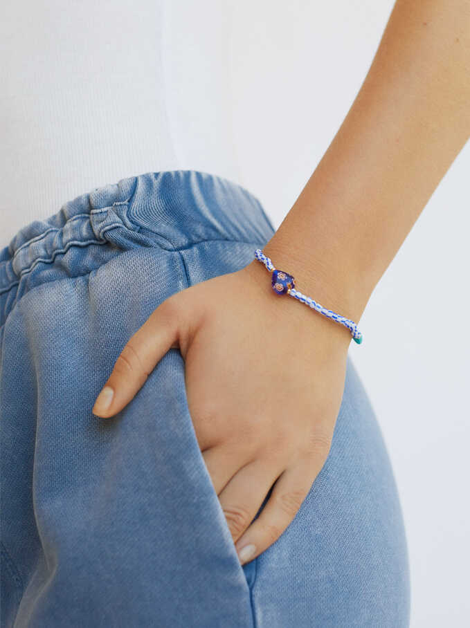 Elastic Bracelet With Hearts, Blue, hi-res