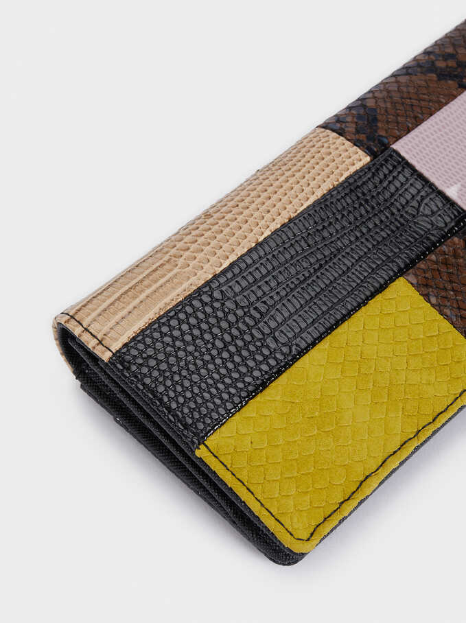 Long Patchwork Purse, Black, hi-res