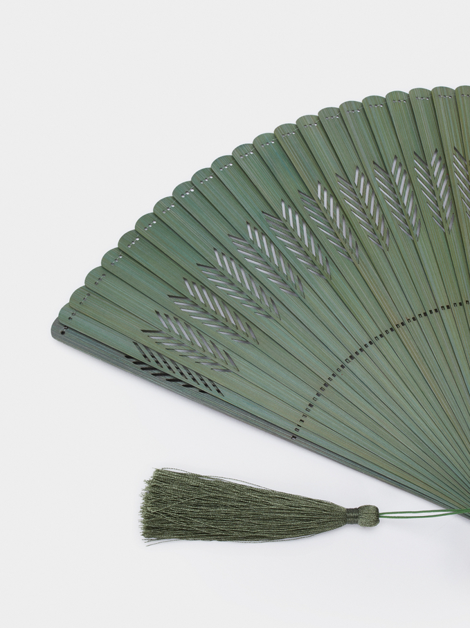 Perforated Fan With Tassel, Khaki, hi-res