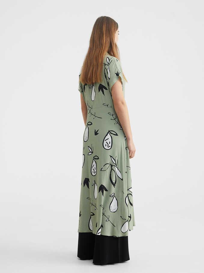 Pear Print Shirt Dress, Green, hi-res