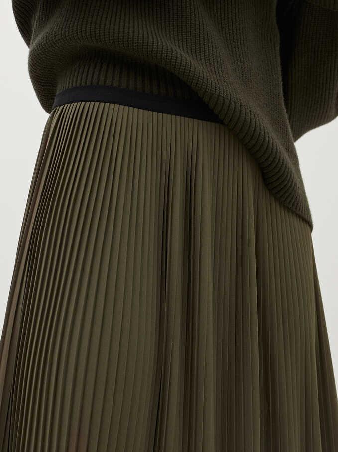 Falda Plisada Cintura Elástica, Caqui, hi-res