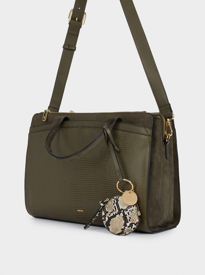 Briefcase With Animal Embossed Detail And Removable Shoulder Strap, Khaki, hi-res