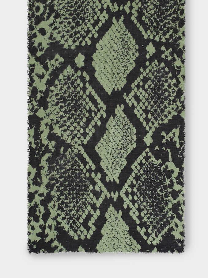 Snake Print Maxi Scarf, Green, hi-res
