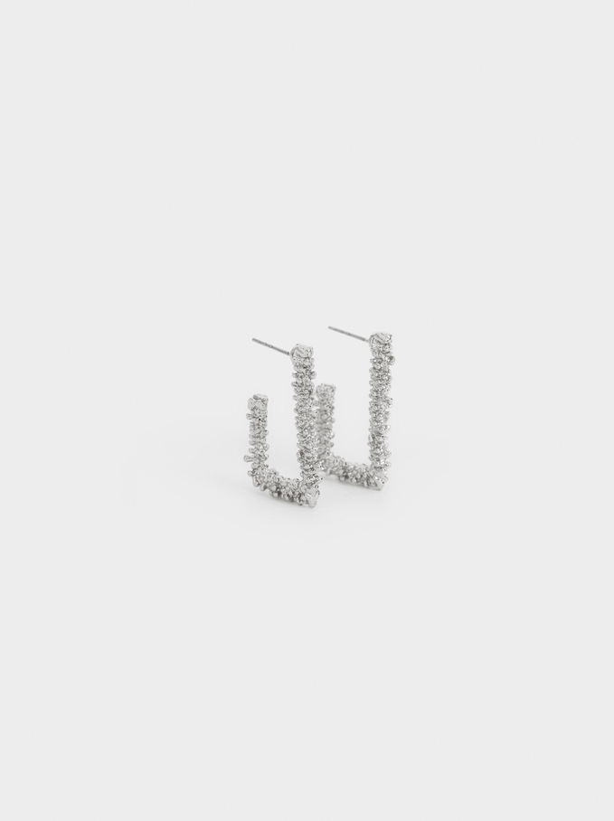Small Square Hoop Earrings, Silver, hi-res