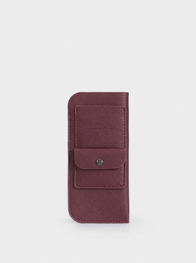 Eyeglass Pouch With Card Holder And Purse, Bordeaux, hi-res