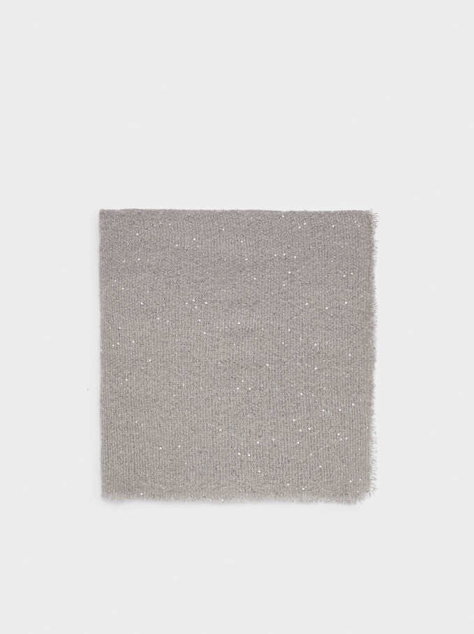 Maxi Scarf With Sequinned Detail, Grey, hi-res
