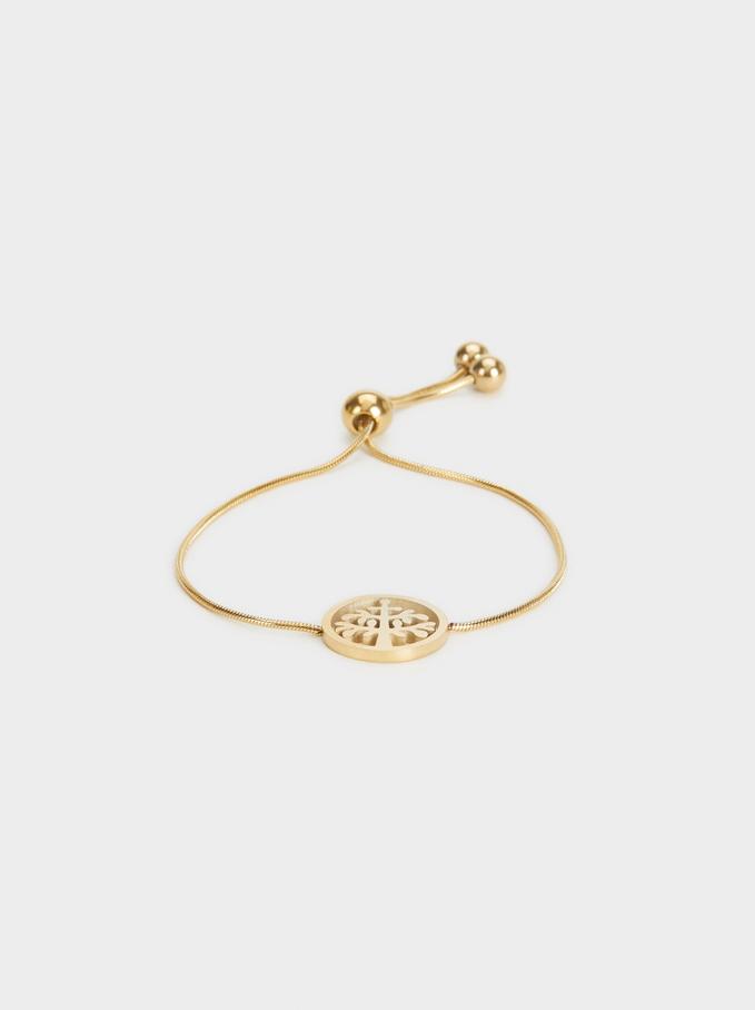 Adjustable Steel Bracelet With Tree, Golden, hi-res