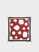 Printed Square Scarf, Bordeaux, hi-res