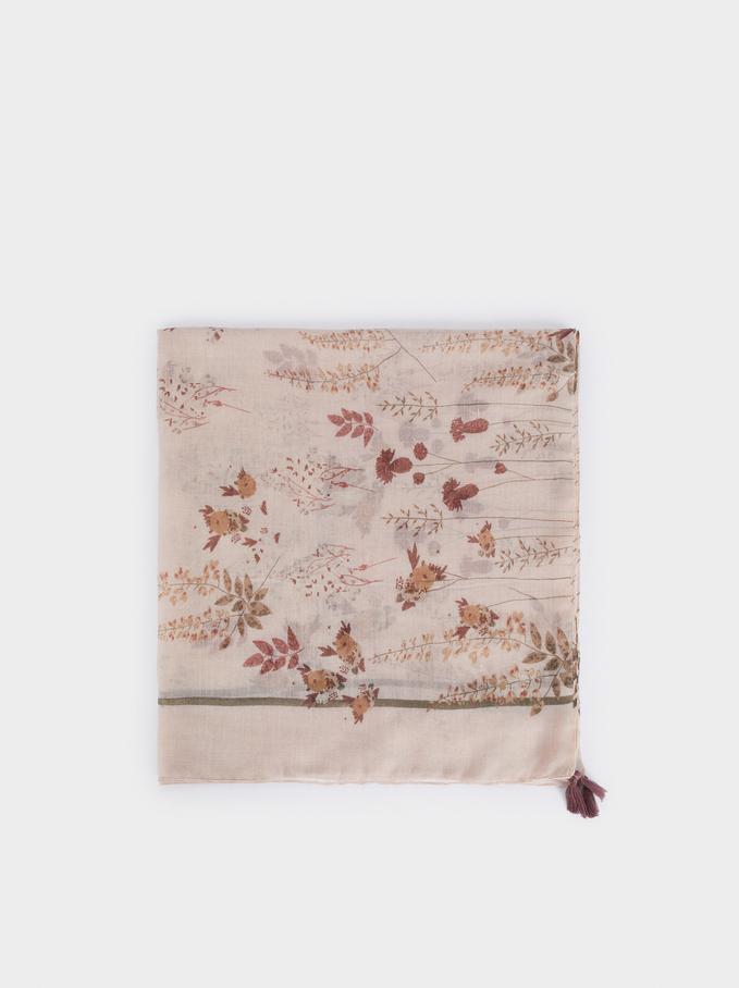 Foulard Imprimé Floral, Rose, hi-res