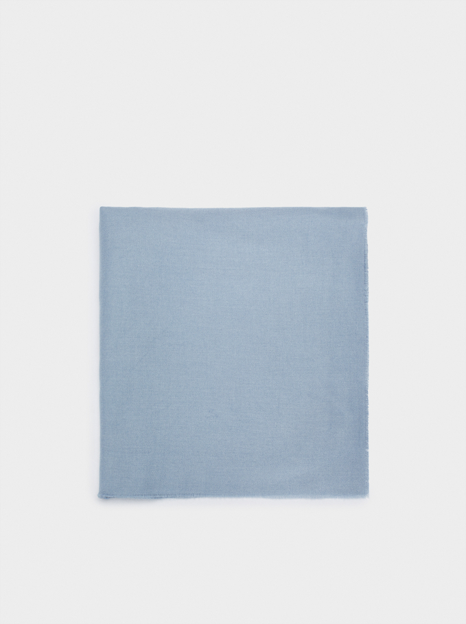 Plain Maxi Scarf, Blue, hi-res