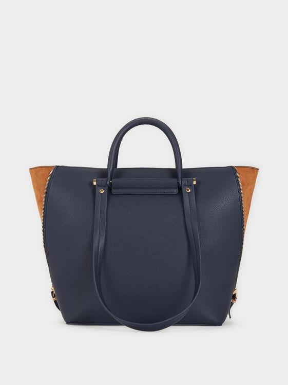 Tote Bag With Faux Suede Trim, Navy, hi-res