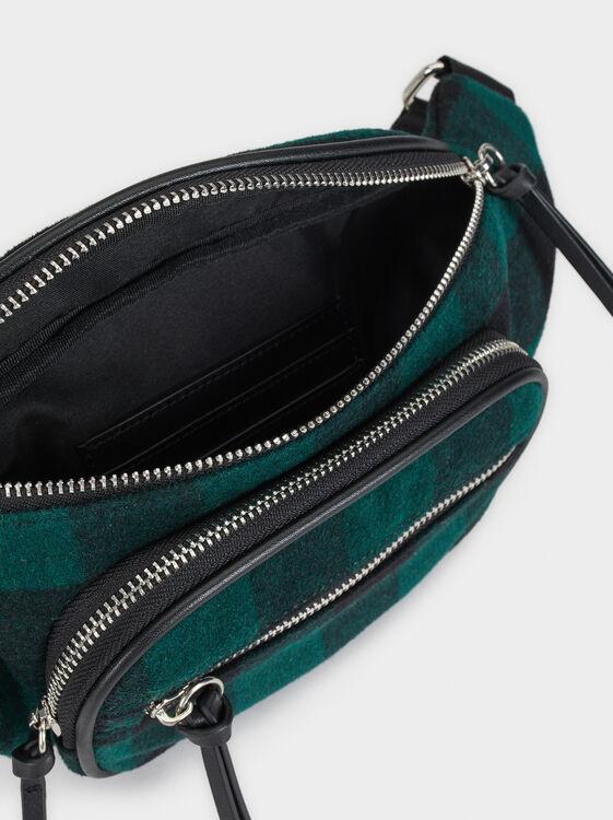 Check Print Belt Bag, Green, hi-res