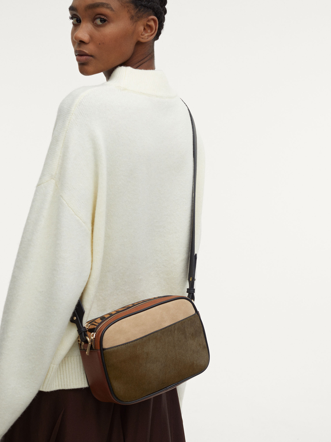 Leather Contrasting Crossbody Bag, Camel, hi-res
