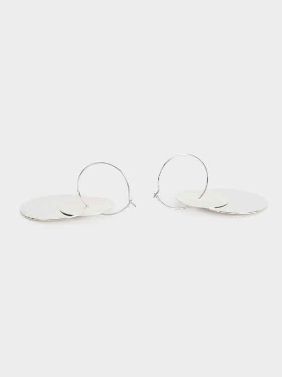 Large Circle Earrings, Silver, hi-res