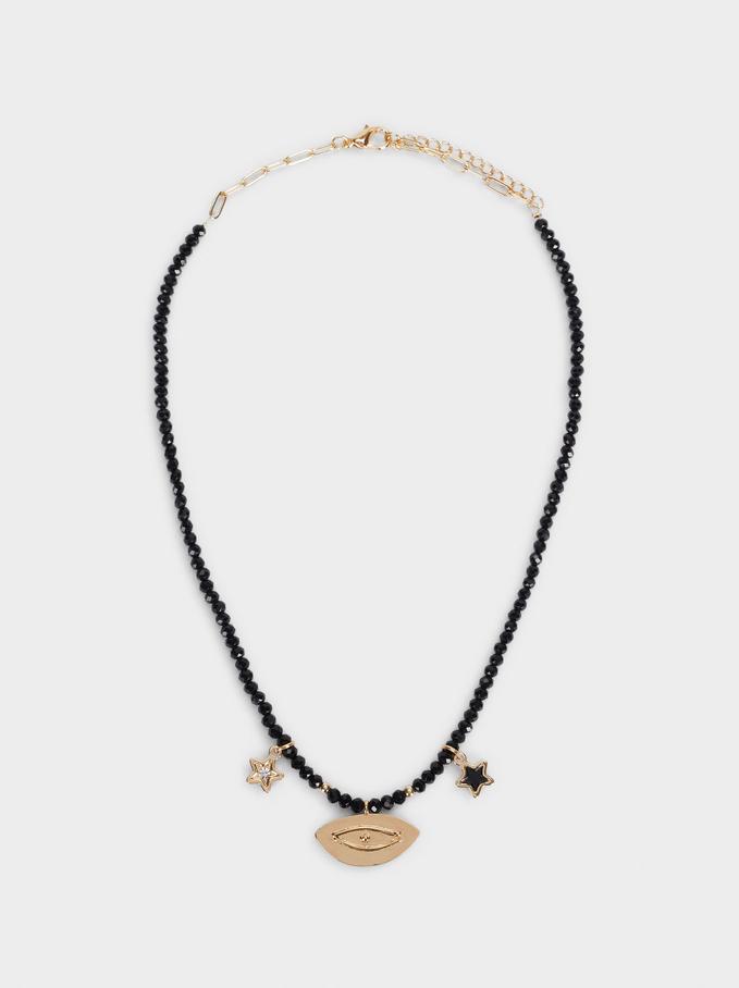 Collier Court Avec Charms Et Perles Fantaisie, Noir, hi-res