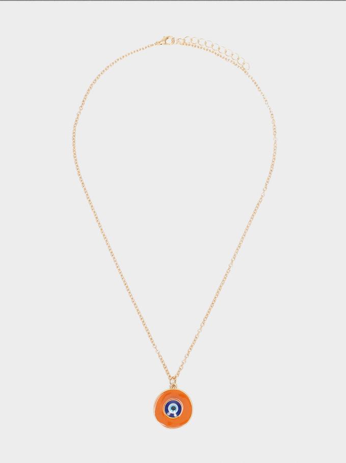 Short Necklace With Pendant, Multicolor, hi-res