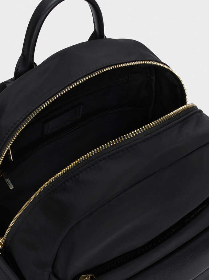 Nylon Backpack With Tassel Detail, Black, hi-res