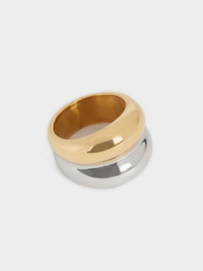 Double Steel Ring, Golden, hi-res