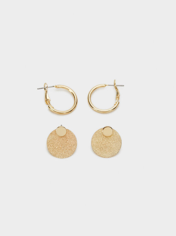 Set Of Basic Earrings, Golden, hi-res