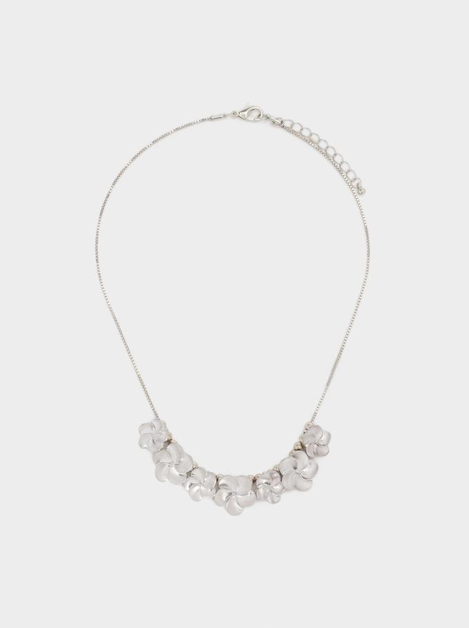 Short Flower Necklace, Silver, hi-res