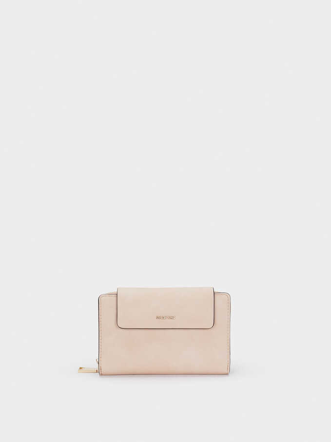 Wallet With Front Flap And Zip Fastening, Beige, hi-res