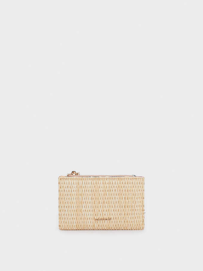 Raffia Wallet With Zip Fastening, Beige, hi-res