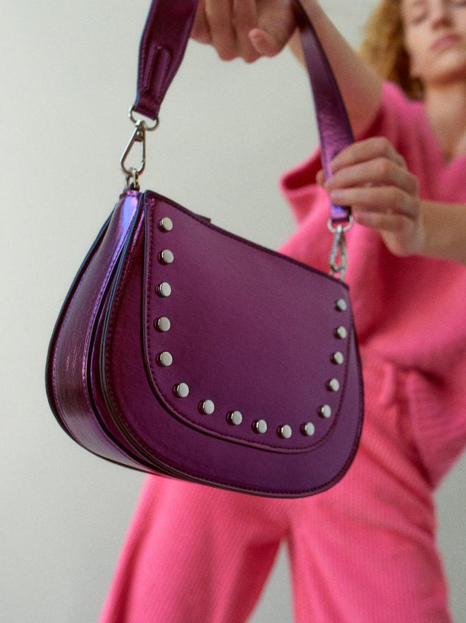 Crossbody Bag With Tacks, Purple, hi-res