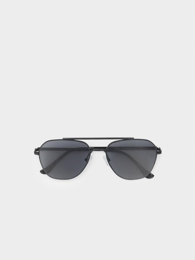 Okulary Przeciwsloneczne Aviator, Czarny, hi-res