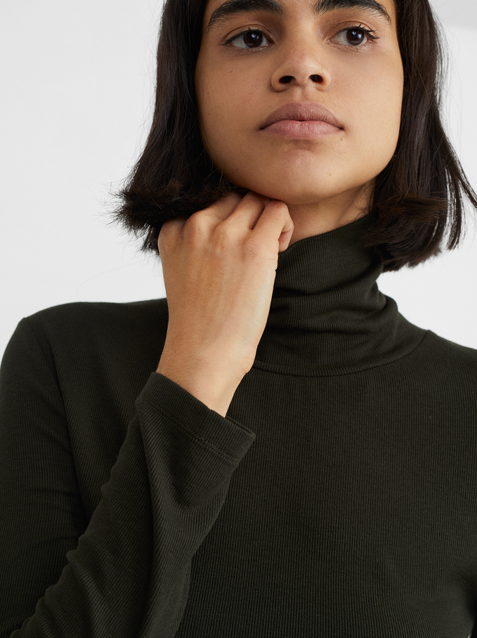 High-Neck Knit Sweater, Green, hi-res