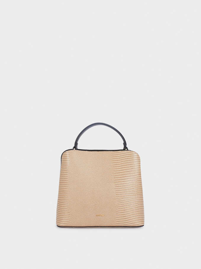 Tote Bag With Animal Print And Removable Shoulder Strap, Ecru, hi-res