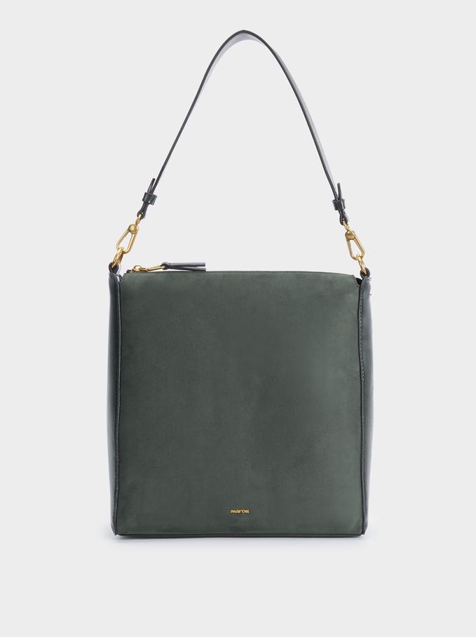 Textured Suede Bucket Bag, Khaki, hi-res