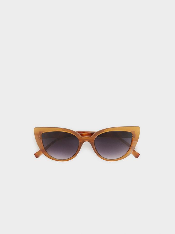 Tortoiseshell Cat-Eye Sunglasses, Camel, hi-res