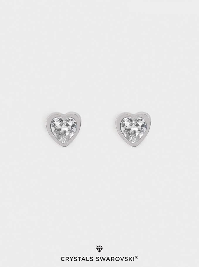 Short Stainless Steel Swarovski Crystals Earrings, Silver, hi-res