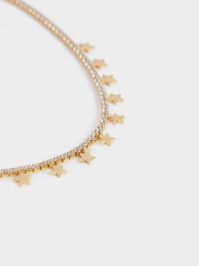 Collar Corto De Acero Con Estrellas, Dorado, hi-res