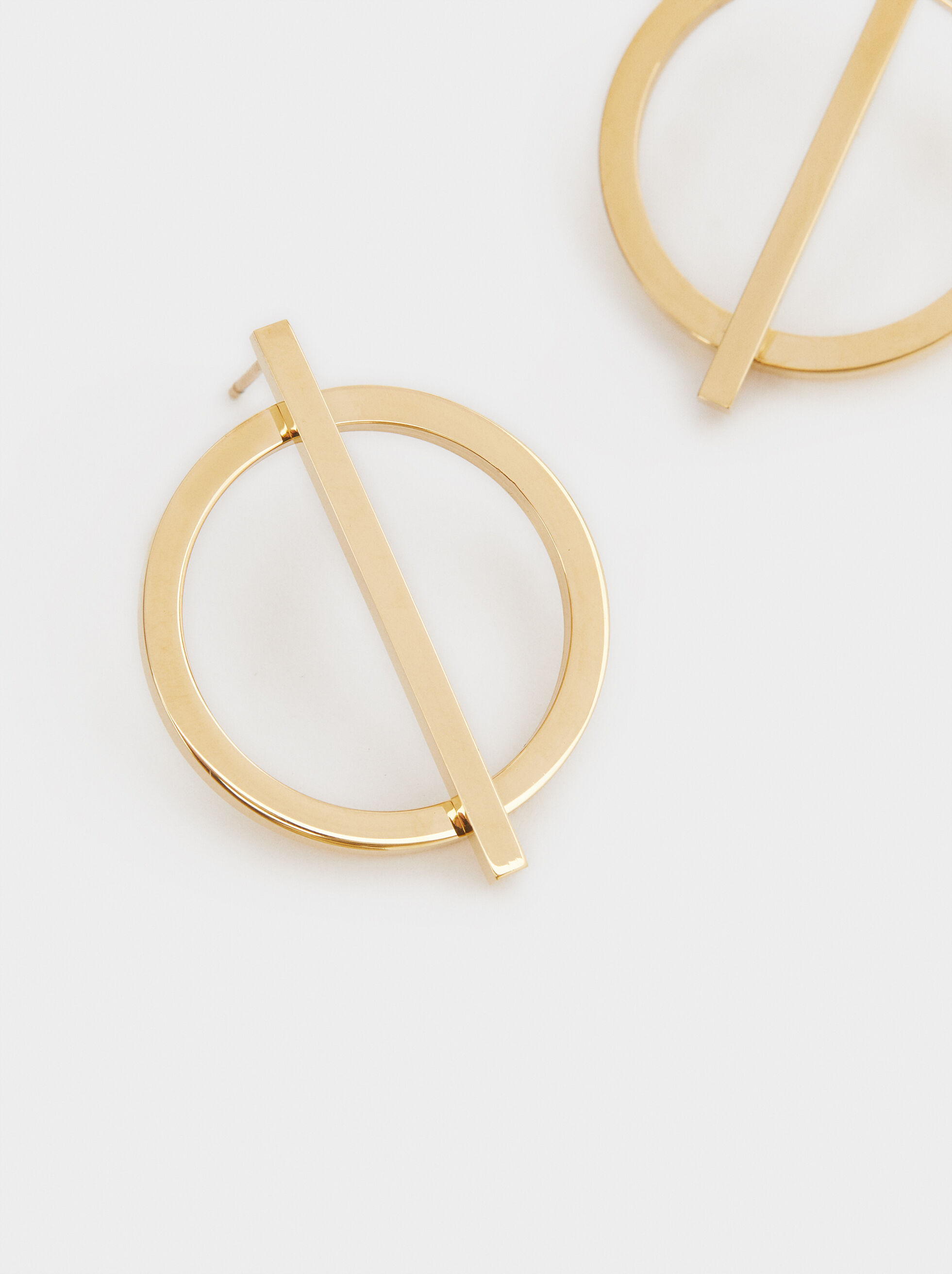 Circular Steel Short Earrings, Golden, hi-res