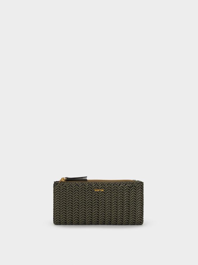 Large Textured Wallet, Khaki, hi-res