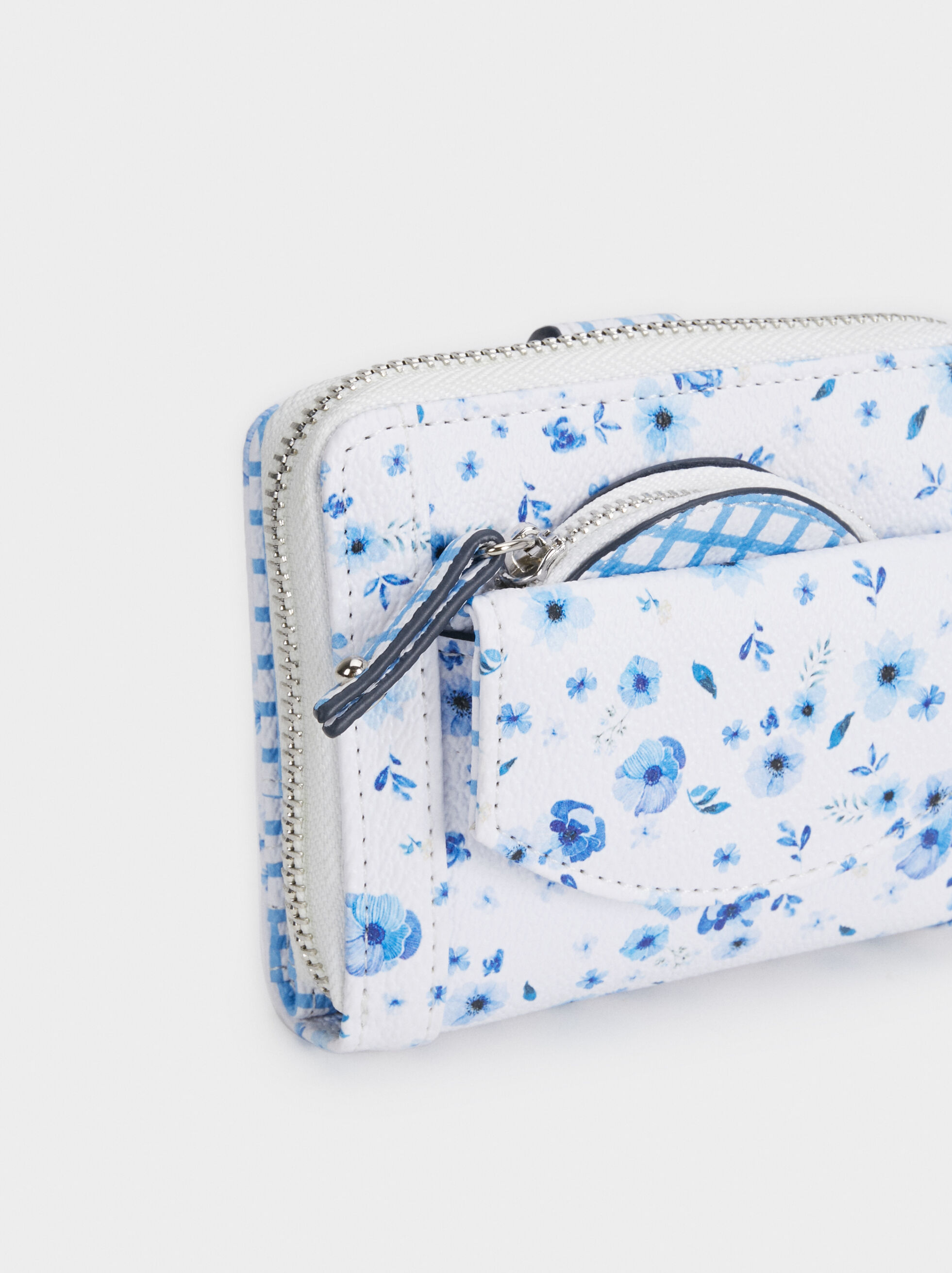 Floral Print Purse, Blue, hi-res