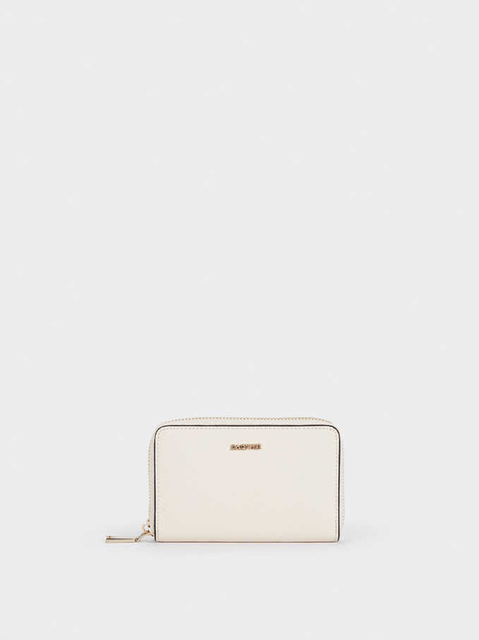 Plain Zipped Purse, Ecru, hi-res