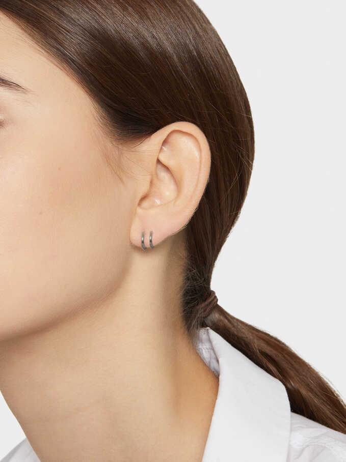 Steel Small Hoop Earrings, Black, hi-res